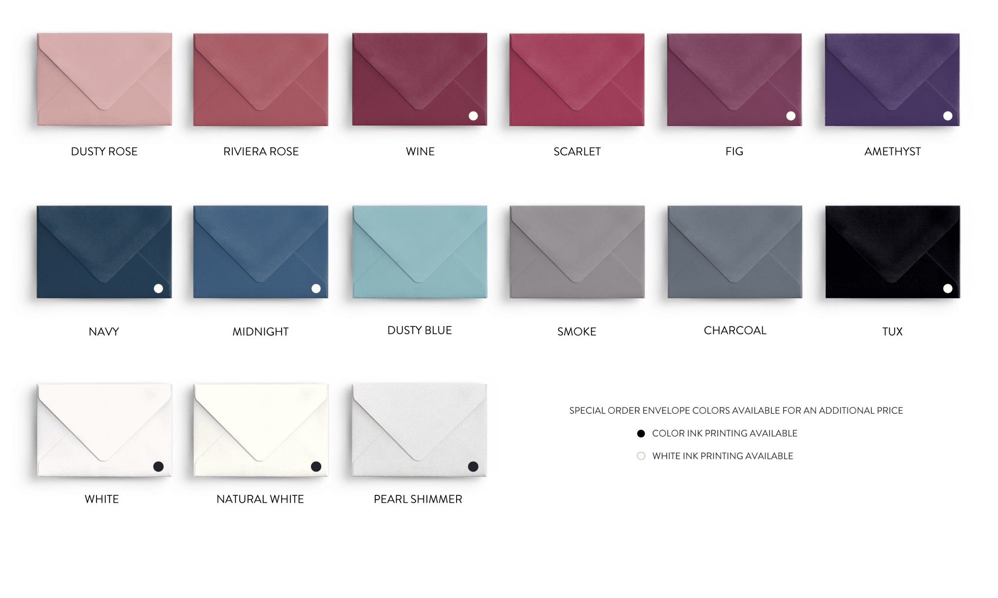 Wedding Invitation Envelope and Paper Colors