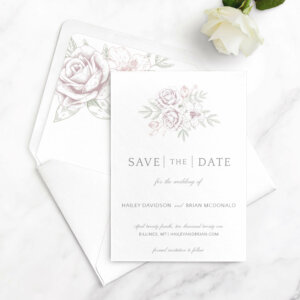 rose bouquet in mauve and blush save the date