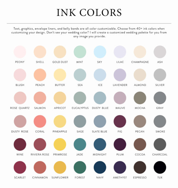 envelope liner color chart