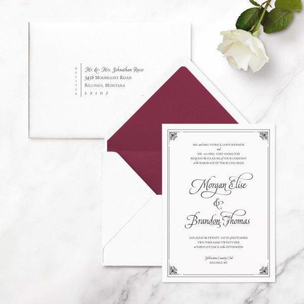 luxurious wedding invites