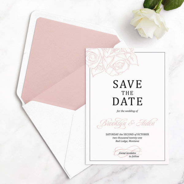 rose save the date cards