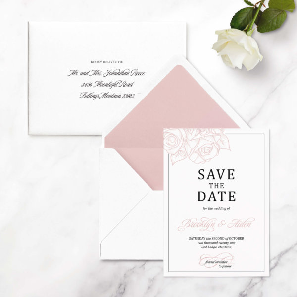 save the date cards rose