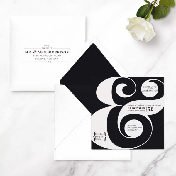 wedding invitation ampersand