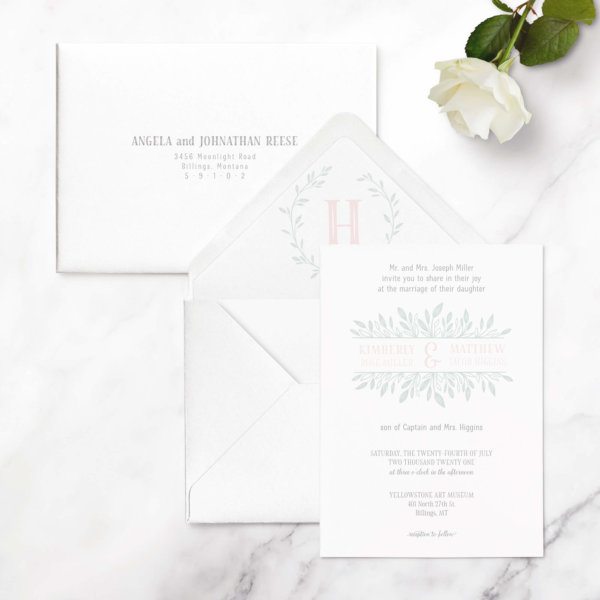 wedding invite leaf