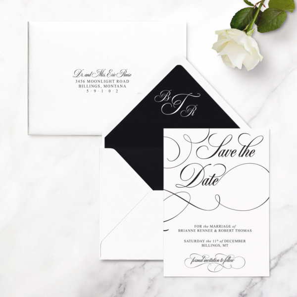 save the date cards glam
