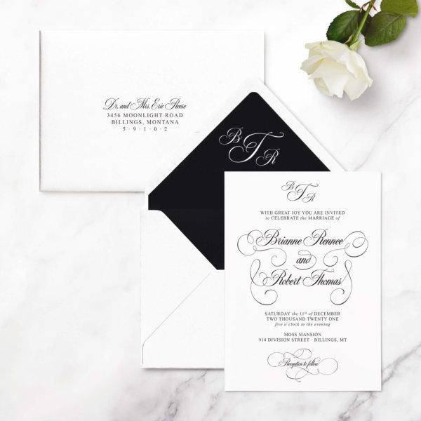 glam wedding invites