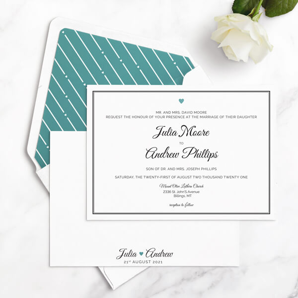clean wedding invitations samples