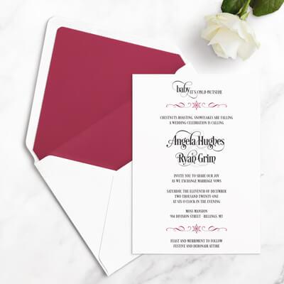free winter wedding invitations sample