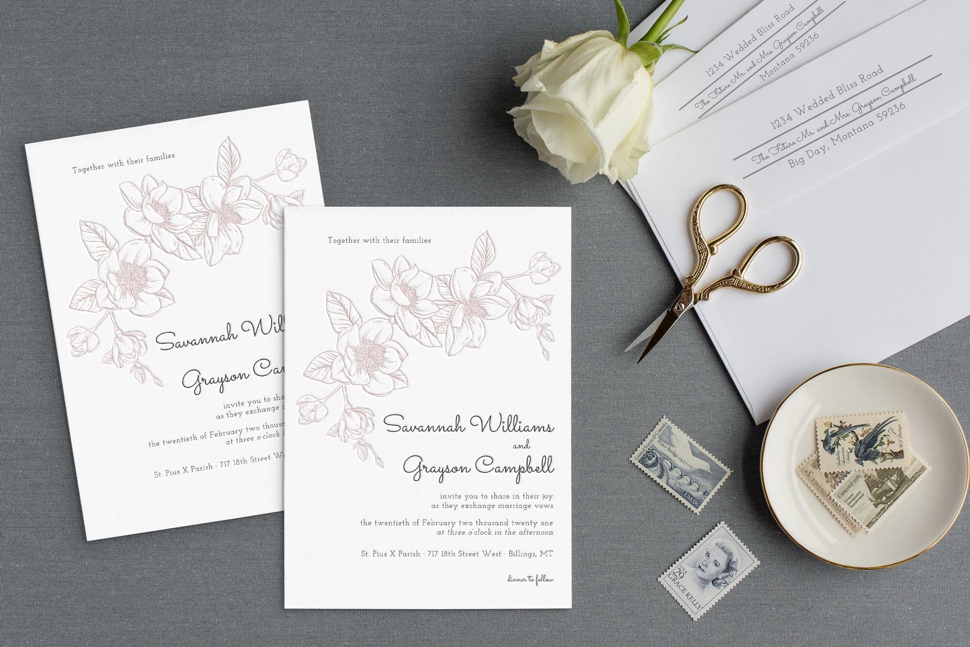 letterpress invitations how many
