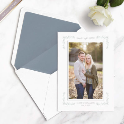 monogram save the date cards