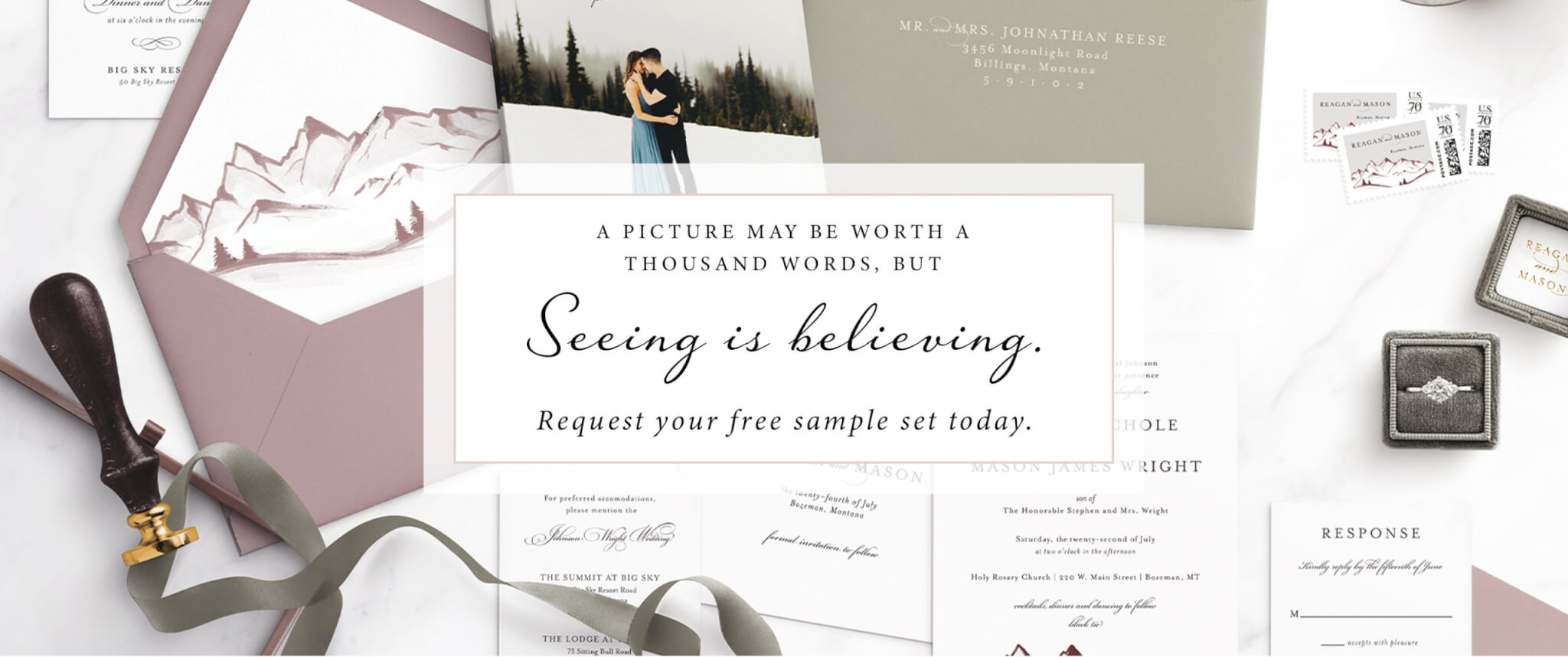 Free Wedding Invitation Samples | Luxe Quality | Seventh and Anderson
